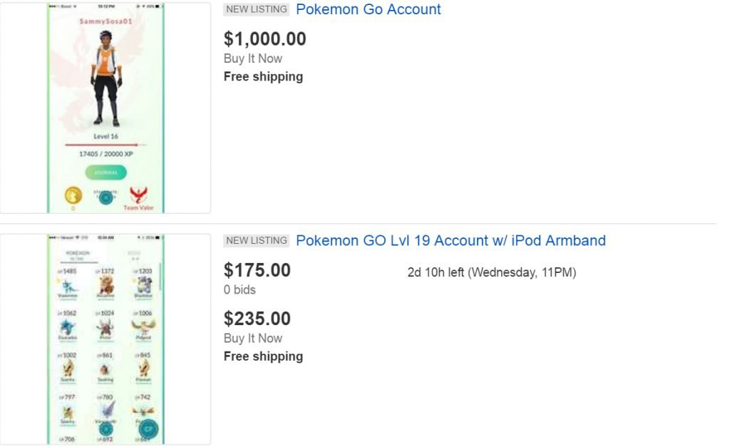 eBay, Craigslist and Facebook are flooded with Pokémon GO accounts