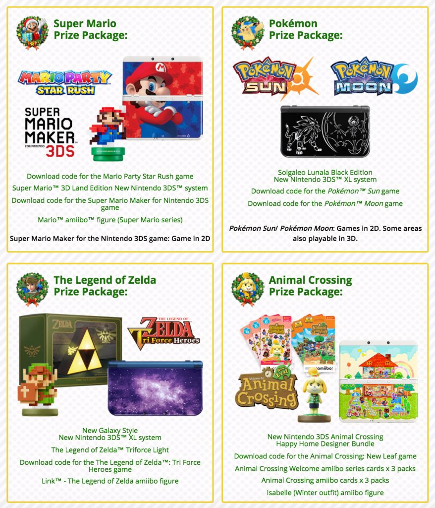 Enter Nintendo's Holiday Sweepstakes 2016 while you can! | Nintendo Wire