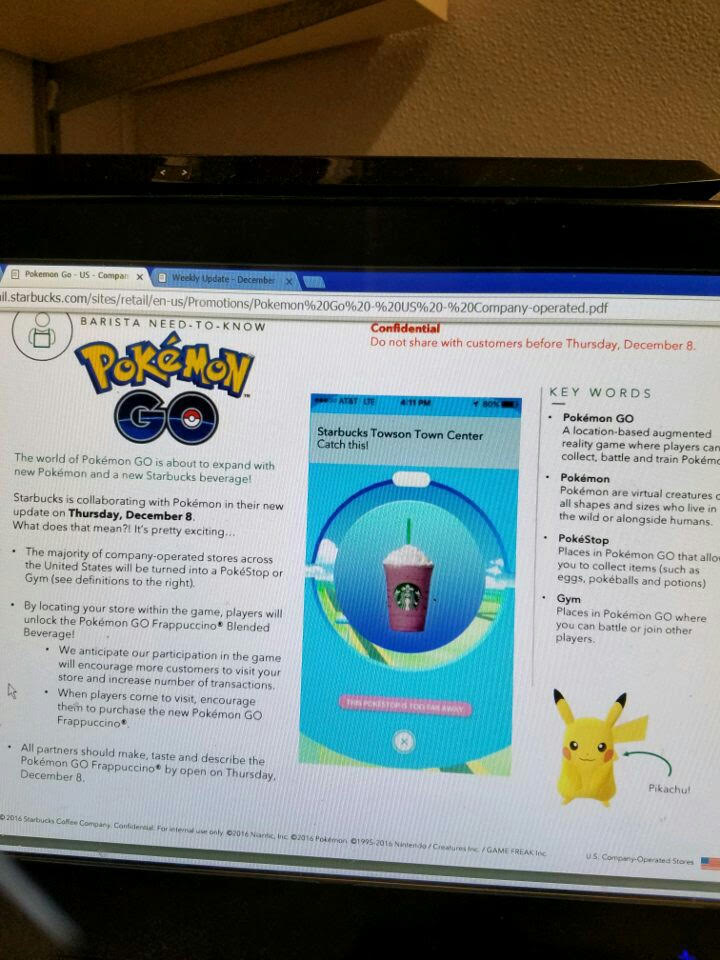Starbucks Pokémon GO Leak | Nintendo Wire