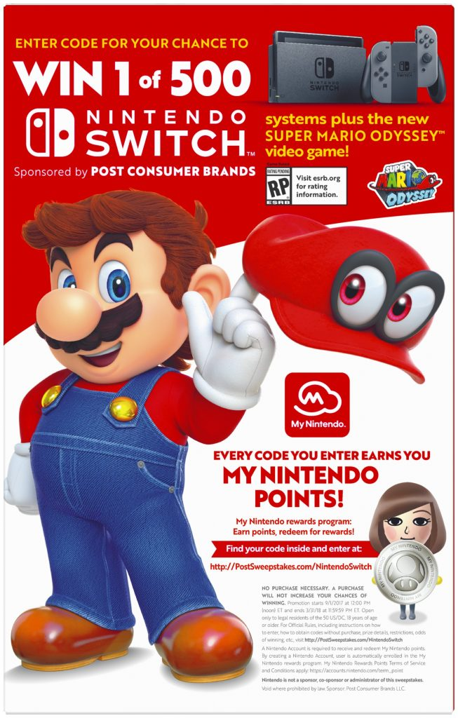 post sweepstakes nintendo switch code nintendo teams up with post consumer brands for a super 6043