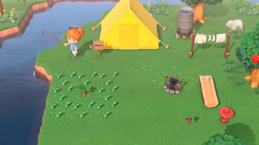 River fishing by a tent in Animal Crossing: New Horizons