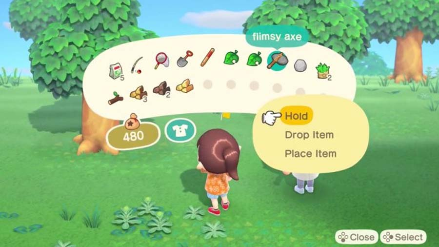 The inventory in Animal Crossing: New Horizons