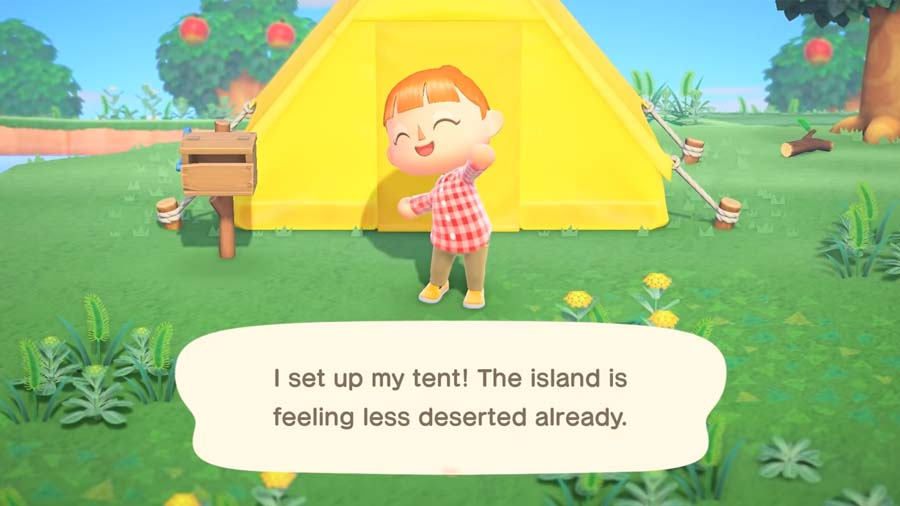 Setting up your tent in Animal Crossing: New Horizons