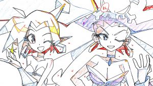Production artwork of Shantae 5's opening animation done by Studio Trigger, featuring Shantae and Risky Boots
